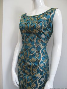 1960's Teal blue satin brocade vintage cocktail dress **SOLD**